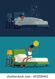 African woman sleeping at night and waking up in the morning. Flat vector illustration on african lady resting in his bedroom and stretching sitting on his bed after getting up