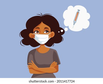 African Woman Thinking About Getting the Vaccine. Reluctant person deciding about vaccination feeling hesitant due to misinformation during covid-19 pandemic