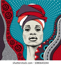 African woman with African in turban, tribal background. Beautiful black woman. Vector illustration