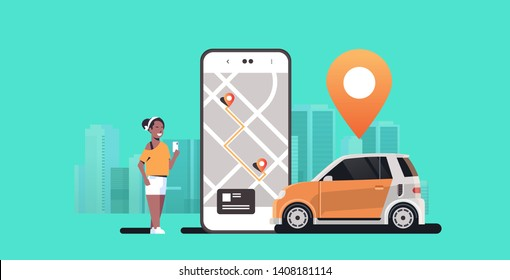 african woman using mobile app ordering automobile vehicle with location mark rent car sharing concept transportation carsharing service modern cityscape background horizontal