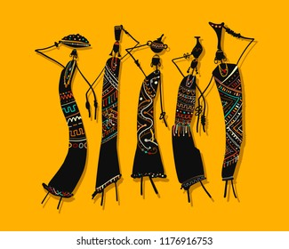 African women with jugs, ornate sketch for your design