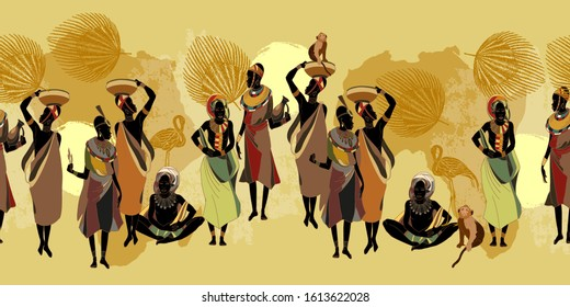 African women in national clothes horizontal seamless pattern. Beautiful black females. Tribal art. People of South Africa, vector illustration