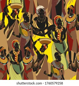 African women in national clothes horizontal seamless pattern. Beautiful black females. People of South Africa. Ethnic art. Tradition and culture