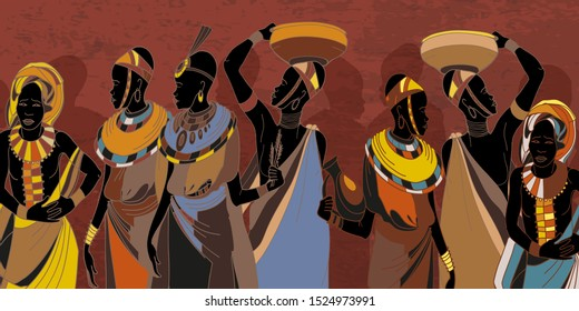 African women in national clothes. People of South Africa, vector illustration. Beautiful black females