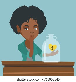 African worried broke woman looking at empty money box. Desperate broke woman sitting at the table with empty money box. Bankruptcy and insolvency concept. Vector cartoon illustration. Square layout.