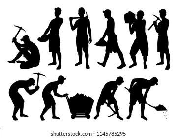 African young man working in mine silhouette vector set