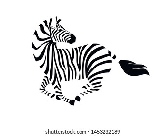 African zebra running with head looks back side view outline striped silhouette animal design flat vector illustration isolated on white background