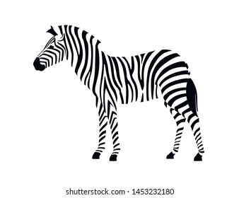 African zebra side view outline striped silhouette animal design flat vector illustration isolated on white background