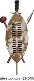 African Zulu assegai spear shield and club