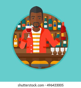An african-american bartender standing at the bar counter. Bartender with a bottle and a glass in hands. Bartender at work. Vector flat design illustration in the circle isolated on background.
