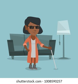 African-american blind woman standing with a walking stick at home. Young blind woman in dark glasses standing with a cane. Vector cartoon illustration. Square layout.