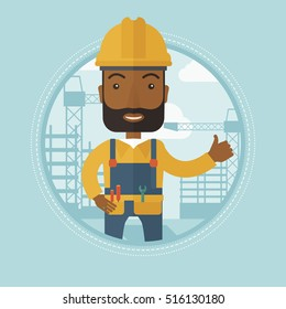 An african-american builder giving thumb up on the background of construction site. Smiling builder in helmet showing thumb up. Vector flat design illustration in the circle isolated on background.