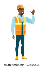 African-american builder in hard hat waving his hand. Full length of builder waving hand. Builder making greeting gesture - waving hand. Vector flat design illustration isolated on white background.