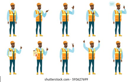 African-american builder waving his hand. Full length of builder waving his hand. Builder making greeting gesture - waving hand. Set of vector flat design illustrations isolated on white background.