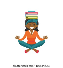 African-american business woman with closed eyes meditating in yoga lotus position. Woman with books on her head relaxing in yoga lotus pose. Vector cartoon illustration isolated on white background.