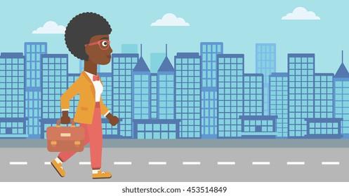 An african-american business woman walking with a briefcase. Business woman walking down the street. Vector flat design illustration. Horizontal layout.