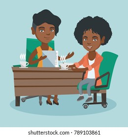 African-american business women sitting at the table and discussing business matters at meeting. Two women talking on business meeting and drinking coffee. Vector cartoon illustration. Square layout.