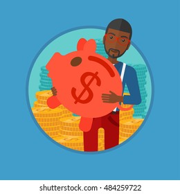 An african-american businessman holding a big piggy bank on the background of stacks of golden coins. Business success concept. Vector flat design illustration in the circle isolated on background.
