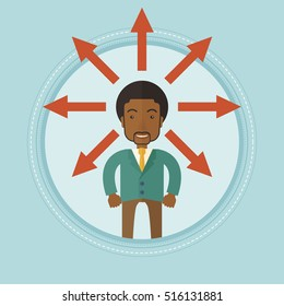 An african-american businessman with many arrows around his head symbolizing business solution. Business solution concept. Vector flat design illustration in the circle isolated on background.