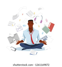 African-American Businessman or Office Worker, Sitting in Lotus Pose, Meditating and Taking Break in Paperwork Chaos Flat Vector Illustration Isolated In White Background. Keeping Balance in Work