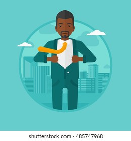 An african-american businessman opening his jacket like superhero on the background of modern city. Businessman superhero. Vector flat design illustration in the circle isolated on background.