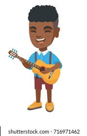African-american cheerful boy singing and playing the acoustic guitar. Full length of happy boy with a guitar. Vector sketch cartoon illustration isolated on white background.