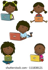 African-American cheerful  girls with laptops sitting in different poses. Vector happy school children receive education on the Internet.