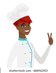 African-american chef cook showing victory gesture. Chef cook showing the victory sign with two fingers. Chef cook with victory gesture. Vector flat design illustration isolated on white background.