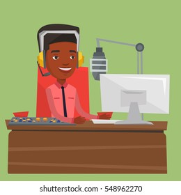 African-american dj working on a radio station. Radio dj speaking into a microphone in a studio. News presenter in headset working on a radio station. Vector flat design illustration. Square layout.