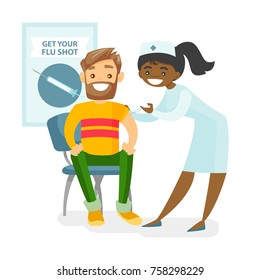 African-american doctor woman giving a free flu vaccination shot to the arm of a caucasian male patient. Young happy smiling doctor vaccinating a man against flu. Vector isolated cartoon illustration.