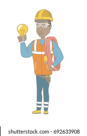 African-american electrician holding idea lightbulb. Full length of young builder showing a bright lightbulb. Successful idea concept. Vector sketch cartoon illustration isolated on white background.