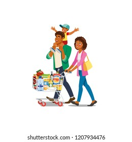 African-American Family Cartoon Vector Characters Walking with Supermarket Shopping Cart Full of Food Products Isolated on White Background. Parents with Son Buying Groceries, Making Purchases in Shop