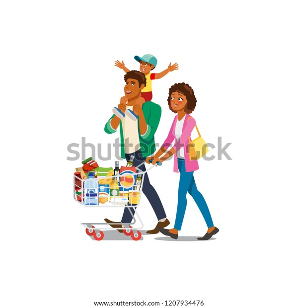 Africanamerican Family Cartoon Vector Characters Walking Stock
