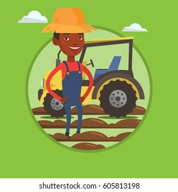 African-american farmer in summer hat standing on the background of tractor preparing land. Farmer standing in front of tractor. Vector flat design illustration in the circle isolated on background.