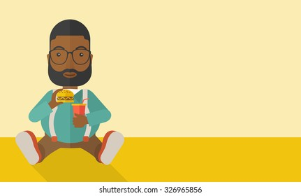 An african-american fat man with beard sitting on the floor while eating hamburger and drinking soda vector flat design illustration. Horizontal layout with a text space.