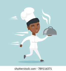 African-american female chef cook in a hat and white uniform running with a hot dish with smoke. Young chef cook holding a just cooked restaurant dish. Vector cartoon illustration. Square layout.