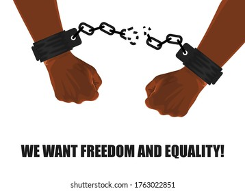 AFRICAN-AMERICAN HANDS IN BROKEN SHACKLES ON A WHITE BACKGROUND