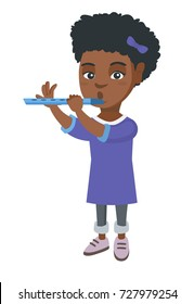 African-american little girl playing the flute. Full length of girl practicing on her flute.Concentrated girl with a flute. Vector sketch cartoon illustration isolated on white background.