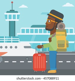 An african-american man at the airport with backpack and a suitcase. Young man standing at the airport and looking at the flying airplane. Vector flat design illustration. Square layout.