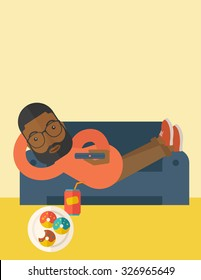 An african-american man with beard lying on a sofa holding a remote with three donuts on the plate and soda on the floor vector flat design illustration. Vertical layout with a text space.