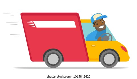 African-american man driving a delivery truck. Happy courier looking through a truck window. Delivery cargo service concept. Vector cartoon illustration isolated on white background. Horizontal layout