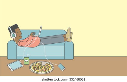 An african-american man in headphones lying on a sofa with electronic devices and fast food. Vector line design illustration. Horizontal layout with a text space for a social media post.