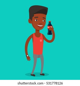 African-american man holding fresh soda beverage at glass bottle. Young man standing with bottle of soda. Cheerful man drinking brown soda from bottle. Vector flat design illustration. Square layout.