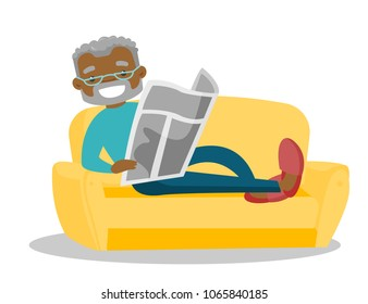 African-american man laying on the couch and relaxing with a newspaper at home. Senior man reading the news in newspaper. Vector cartoon illustration isolated on white background. Horizontal layout.
