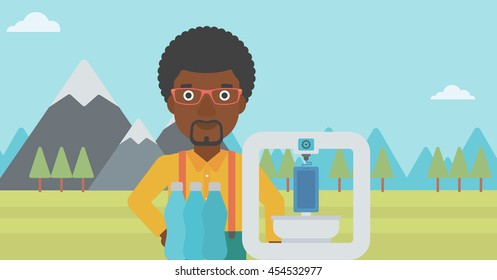 An african-american man standing near 3D printer on the background of mountains. Three D printer making a smartphone using recycled plastic bottles. Vector flat design illustration. Horizontal layout.
