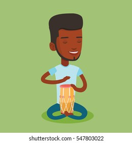 An african-american musician playing ethnic drum. Young man with eyes closed playing ethnic drum. Man playing ethnic music on tom-tom. Vector flat design illustration. Square layout.