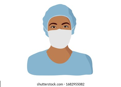 African-american nurse. Female hospital worker in uniform with mask, portrait illustration. Vector.