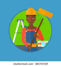 An african-american painter in uniform with a paint roller in hands. Painter at work in an apartment with paint cans and ladder. Vector flat design illustration in the circle isolated on background.