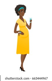 African-american pregnant woman holding a glass of water and pills. Full length of young pregnant woman taking pills during pregnancy. Vector flat design illustration isolated on white background.
