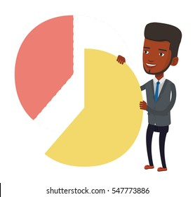 African-american shareholder taking his share of financial pie chart. Shareholder getting his share of profit. Businessman sharing profit. Vector flat design illustration isolated on white background.